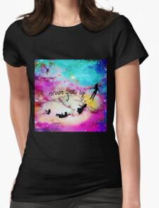 Never Grow Up Peter Pan Nebula Womens Fitted T-Shirt