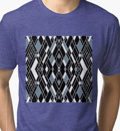 Art Deco Zoom Blue Tri-blend T-Shirt