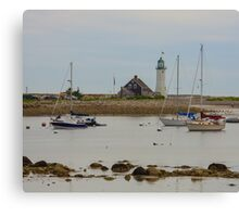 Boats and Scituate Lighthouse Canvas Print