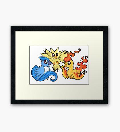 Pokemon Kanto legendary birds Framed Print