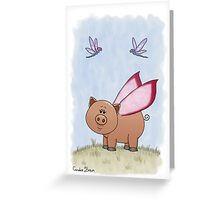 Dragonflies and Piggy Greeting Card