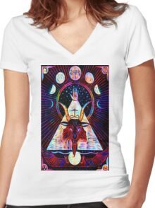 Baphomet Tarot  Women's Fitted V-Neck T-Shirt
