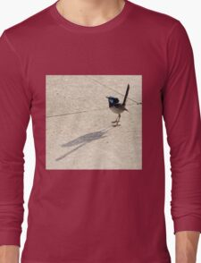 Superb Male Fairy Wren and it's Shadow Long Sleeve T-Shirt