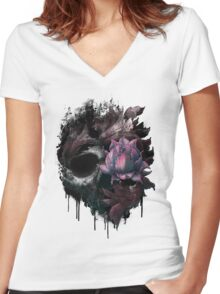 Death Blooms Women's Fitted V-Neck T-Shirt