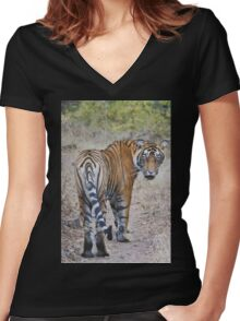 Young Male Tiger Women's Fitted V-Neck T-Shirt