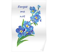Forget Me Not Blue Flower Quote Poster