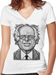 Bernie Caricature Women's Fitted V-Neck T-Shirt