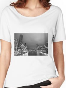 Melbourne at night in Black and White Women's Relaxed Fit T-Shirt