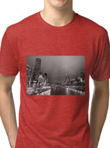 Melbourne at night in Black and White Tri-blend T-Shirt