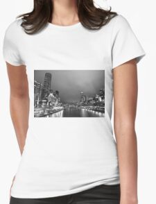Melbourne at night in Black and White Womens Fitted T-Shirt