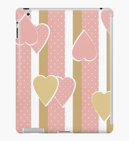 Patchwork retro vertical stripes geometrical hearts pattern texture background iPad Case/Skin