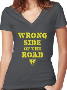 Wrong Side of the Road (Yellow) Women's Fitted V-Neck T-Shirt