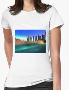 Dubai Sunset Water Fountain Dance Womens Fitted T-Shirt
