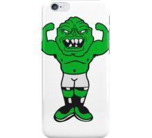 monster bodybuilder muscles strong man Muckis hulk workout ork oger troll green iPhone Case/Skin