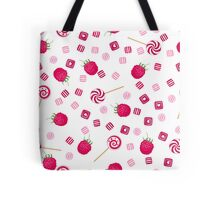 Raspberry lollipops, candy and chewing gum seamless pattern background Tote Bag