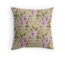Seamless floral retro pattern flowers ornament wallpaper textile Illustration glicinia Throw Pillow