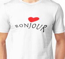 """Bonjour"" typography Unisex T-Shirt"