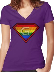 SUPER GAY HERO Women's Fitted V-Neck T-Shirt