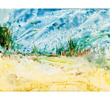 Atop the Dunes Encaustic Painting  Photographic Print