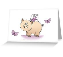 Little Wings Piggy Greeting Card