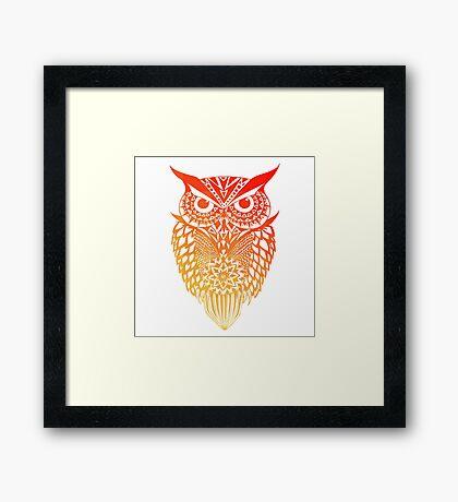 Owl orange gradient Framed Print