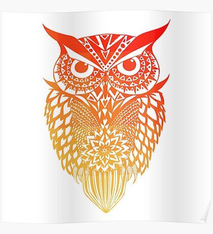 Owl orange gradient Poster