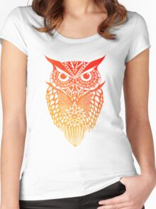 Owl orange gradient Women's Fitted Scoop T-Shirt