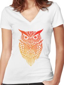 Owl orange gradient Women's Fitted V-Neck T-Shirt