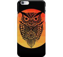 Owl orange gradient oo black bg iPhone Case/Skin