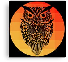 Owl orange gradient oo black bg Canvas Print