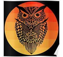 Owl orange gradient oo black bg Poster