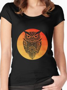 Owl orange gradient oo black bg Women's Fitted Scoop T-Shirt