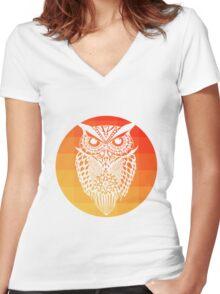 Owl orange gradient oo black bg Women's Fitted V-Neck T-Shirt
