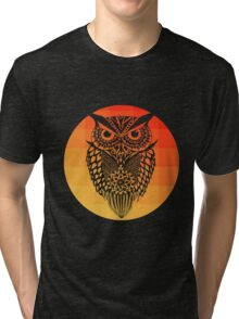 Owl orange gradient oo black bg Tri-blend T-Shirt