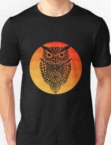Owl orange gradient oo black bg T-Shirt