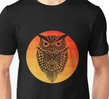 Owl orange gradient oo black bg Unisex T-Shirt