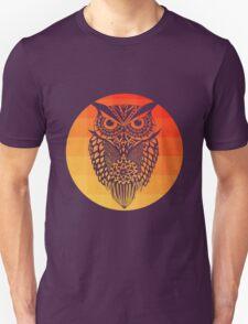 Owl orange gradient oo black bg Unisex T-Shirt
