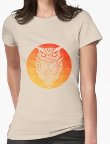 Owl orange gradient oo black bg Womens Fitted T-Shirt