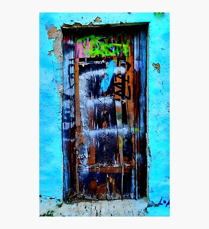 Greek blue wall. Art. Photographic Print
