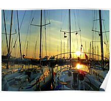 Greek sailingboats in the sunset. Poster