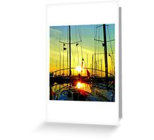 Greek sailingboats in the sunset. Greeting Card