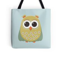 Cute Green Orange Yellow Owl on Blue Tote Bag