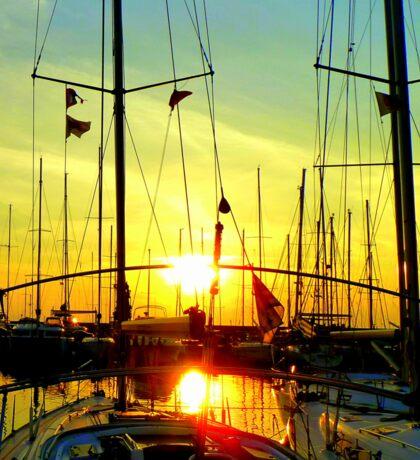 Greek sailingboats in the sunset. Sticker