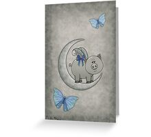 Vintage and Moon Piggy Greeting Card