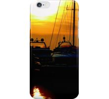 Greek boats and sunset iPhone Case/Skin