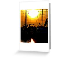 Greek boats and sunset Greeting Card