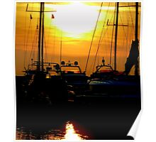 Greek boats and sunset Poster