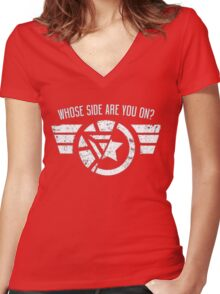 Who's side are you on? Women's Fitted V-Neck T-Shirt