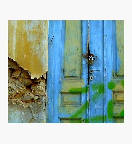 Greek blue door Photographic Print