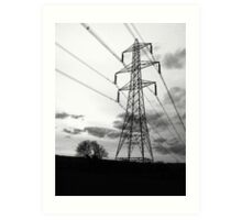 Pylongated ~ Black & White creative image ~ The Nant, Bagillt Art Print